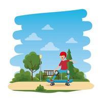 niño feliz en patineta en la escena del parque