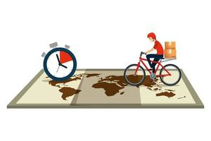 worker of delivery service in bicycle with chronometer and map vector