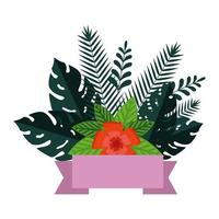 summer leafs plants and flowers decoration vector