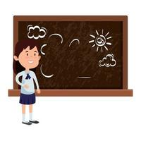 happy student girl drawing in chalkboard vector