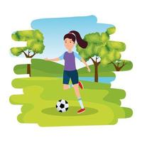happy athletic girl practicing football soccer on the park vector