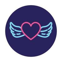 heart with wings in neon light, valentines day vector