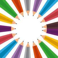 set of colors pencils school vector
