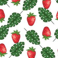 exotic leafs palms and strawberry pattern vector