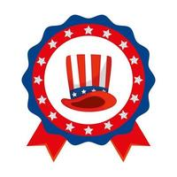 Isolated usa hat inside seal stamp vector design