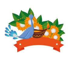 indian peacock bird exotic with floral decoration vector