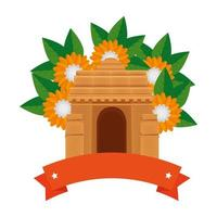 indian gate arch monument with carnations vector