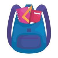suministro de mochila escolar con libros y regla vector