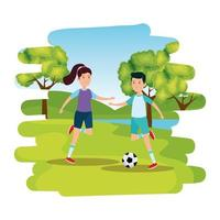 happy athletic couple practicing football soccer on the park vector