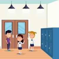 little students group in the school scene vector
