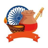 Jarra de cerámica india con comida e iconos decorativos