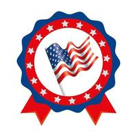 Isolated usa flag inside seal stamp vector design