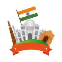 indian buildings monuments with flags vector