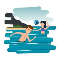 happy athletic couple practicing volleyball on the beach vector