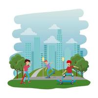 happy young kids in skateboard on the park with road vector