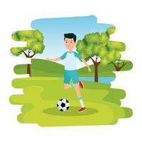 happy athletic boy practicing football soccer in the park vector