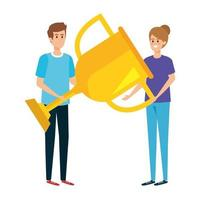 young couple lifting trophy cup award vector