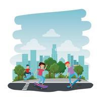 Niños felices en patineta en el parque con carretera
