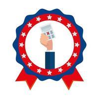 Hand holding usa vote paper vector design
