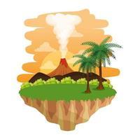 jurassic landscape with smoking volcano scene vector