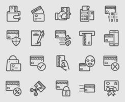 Credit card line icons set vector