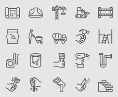conjunto de iconos de línea de trabajo de construcción vector