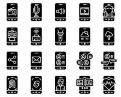 conjunto de iconos vectoriales de aplicaciones móviles, orzuelo sólido vector