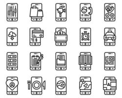Mobile application vector icon set, line stye
