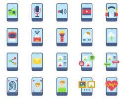 Conjunto de iconos vectoriales de aplicaciones móviles, orzuelo plano vector