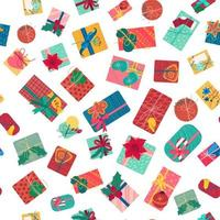 Christmas present boxes with ribbons seamless pattern vector