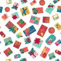 Cajas de regalo de Navidad con cintas de patrones sin fisuras vector