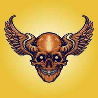Scary Skull with Horns, Wings vector