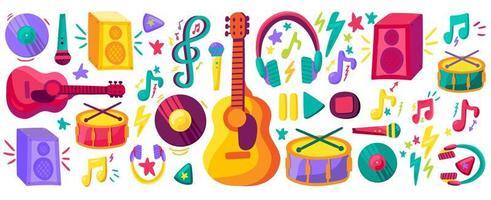 conjunto de cliparts planos de instrumentos musicales vector