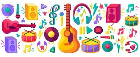 Musical instruments flat cliparts set vector