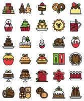 Christmas food and drinks filled icon set