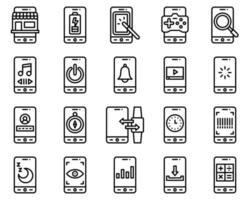Mobile application vector icon set line stye