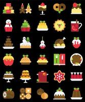 Christmas food and drinks filled icon set vector
