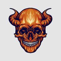 Red Devil Skull Horn vector