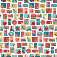 New year present boxes vertical seamless pattern vector