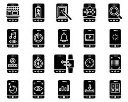 Mobile application vector icon set, solid stye