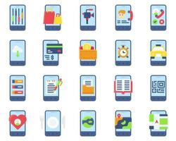 Mobile application vector icon set, flat stye
