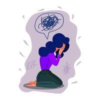 ilustración de vector dibujado a mano chica deprimida