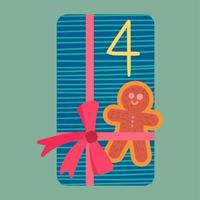 Christmas present from above flat vector illustration