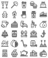 conjunto de iconos de línea de alimentos y bebidas de navidad vector