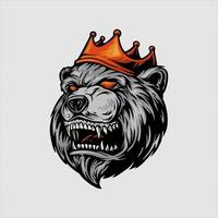 Angry Bear With Red Crown Mascot vector