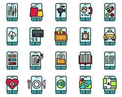 Mobile application vector icon set, filled stye