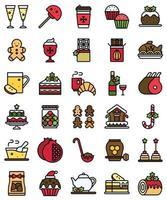 Conjunto de iconos llenos de comida y bebida navideña vector