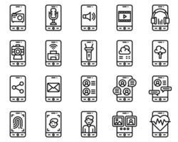conjunto de iconos vectoriales de aplicaciones móviles, orzuelo de línea vector