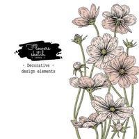dibujos de flores cosmos. vector