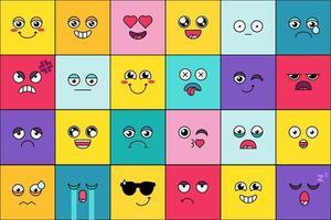 Emoticon, cute smiles face set vector